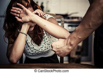 femme, elle, couverture, violence, conjugal, figure, peur