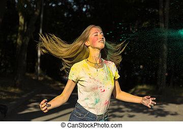 femme, elle, festival, lancer, haut, jeune, cheveux, holi, frais
