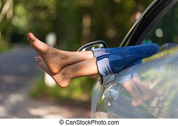 femme, elle, gens, voiture, prendre, -, jeune, repos, noir, africaine, cabriolet, chauffeur