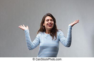 femme, elle, jeune, faire gestes, mains, joyeux, heureux