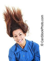 femme, elle, lancer, insouciant, cheveux, élégant