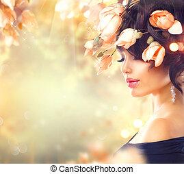 femme, elle, printemps, magnolia, cheveux, fleurs