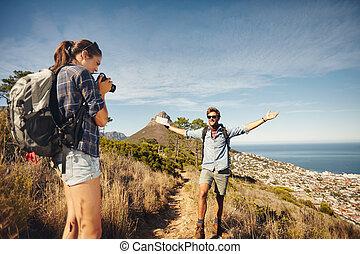 femme, elle, randonnée, quoique, photographier, petit ami