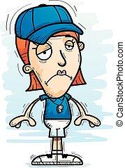 femme, entraîneur, dessin animé, triste