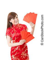 femme, enveloppe, rouges, chinois