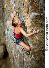 femme, escalade, rocher