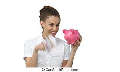 femme, espèces, main, piggy-banque