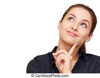 femme, espace, pensée, isolé, haut, regarder, copie, vide, heureux