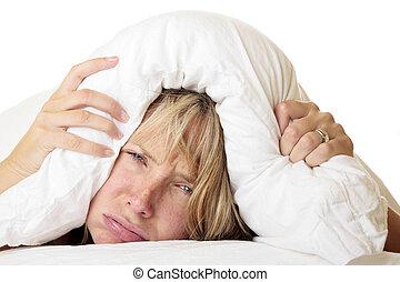 femme, essayer, sommeil