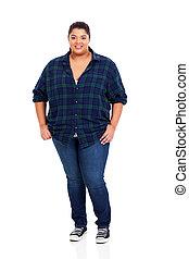 femme, excès poids, jeune, longueur, entiers, portrait