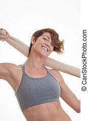 femme, exercice, après