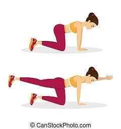 femme, exercise., chien, équilibre, oiseau, exercice