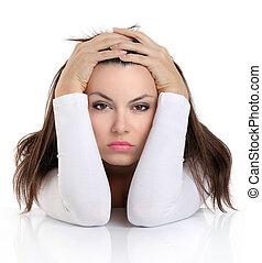 femme, expression, inquiété, figure