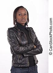femme, expression, sud, noir, porter, jeune, sérieux, africaine, cuir, arrière-plan., blanc