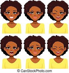 femme, expressions, américain, africaine