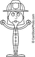 femme fâchée, pompier, dessin animé
