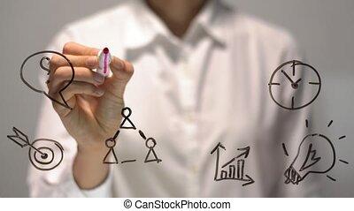 femme, femme affaires, screen., écriture, écrire, board., transparent, marché
