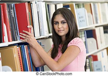 femme, fermé, étagère, bibliothèque, field), traction, (depth, livre