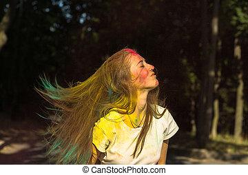 femme, festival, voler, charmer, cheveux, célébrer, holi, blond