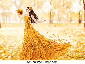 femme, feuilles, automne, mode, artistique, automne, robe, érable
