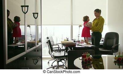 femme, fille, bureau, business, directeur, 4, jouer