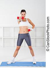 femme, fitness, exercisme