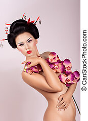 femme, fleurs, geisha