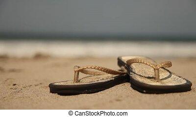 femme, -, flip-flops), (beach