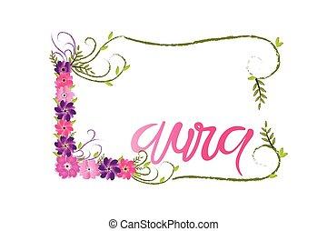 femme, floral, laura, lettrage, nom