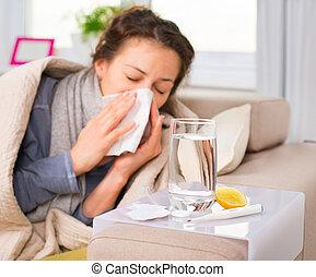 femme, flu., attrapé, éternuer, cold., tissu, malade, woman.