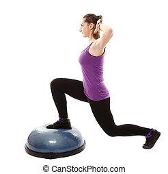 femme, fonctionnement, elle, athlétique, bosu, balle, jambes