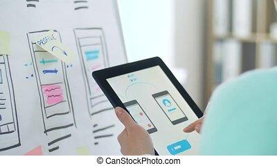 femme, fonctionnement, pc tablette, conception, interface