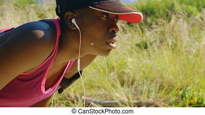 femme, forêt, athlète, délassant, jogging, 4k, après
