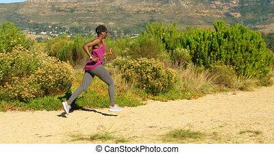 femme, forêt, athlète, jogging, 4k