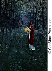 femme, forêt, lanterne