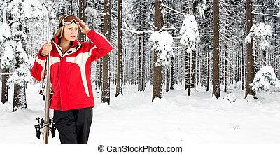 femme, forêt, ski