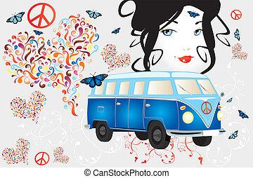 femme, fourgon, paix, -, retro, amour