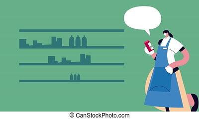 femme foyer, porter, protection, achat, supermarché, masque, monde médical, covid19, épicerie