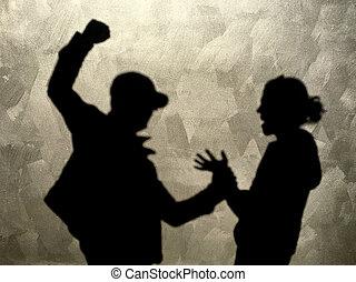 femme, frapper, rue, innocent, agressif, homme