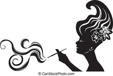 femme, fumer, séduisant