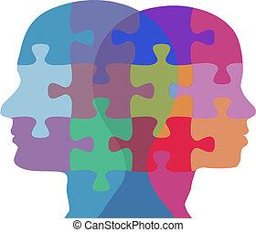 femme, gens, puzzle, figure, problème, homme