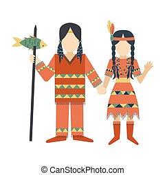 femme, gens, vendange, couple, indiens, ornement, illustration, vecteur, retro, caractères, ethnique, hindouisme, outils, temple, homme