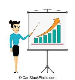 femme, graphique financier, projection, croissance, planche, homme affaires