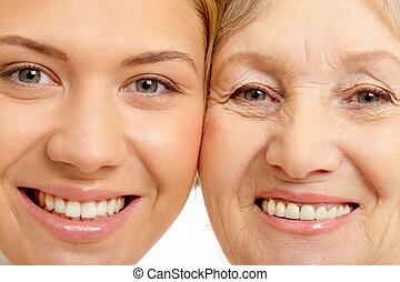 femme, gros plan, mère, deux, faces, beau
