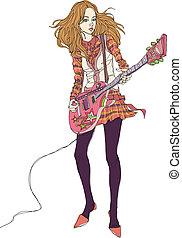 femme, gros plan, tenue, guitare