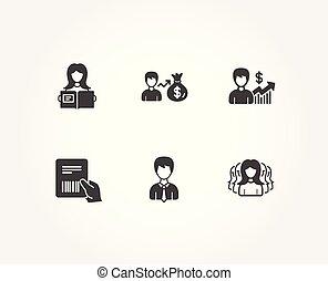 femme, groupe, paquet, business, lire, icons., croissance, facture, homme affaires, sallary, signs., femmes