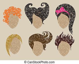 femme, grunge, dénommer cheveux