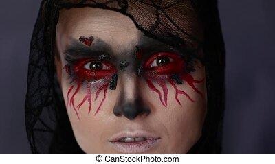 femme, halloween, image., make-up.