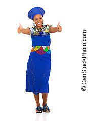femme, haut, africaine, deux, pouces, donner