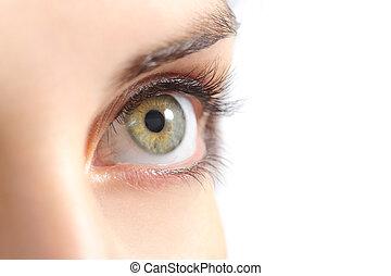 femme, haut fin, oeil vert, beau